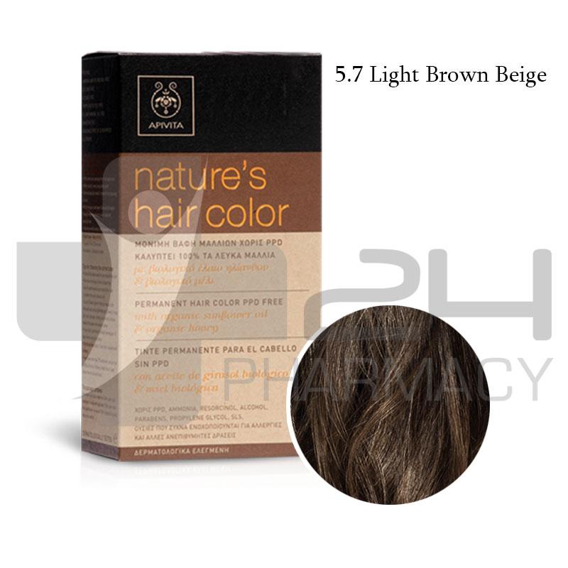 Apivita Natures Hair Color 57 Light Brown Beige 50ml 24pharmacy