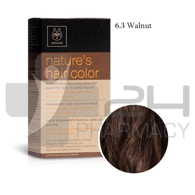 Apivita Natures Hair Color 63 Walnut 50ml 24pharmacy Shop